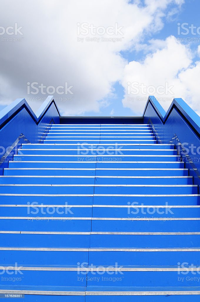 Staircase to Success Blue Sky, Berlin. stock photo