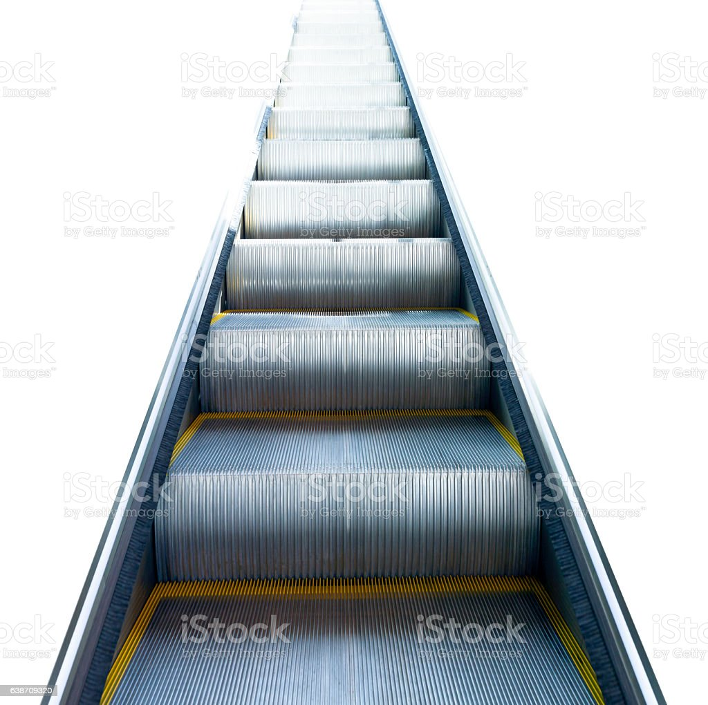 Staircase to success, modern escalator, white square background, copy space stock photo