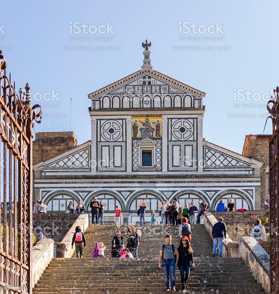 Staircase to the Basilica of San Miniato al Monte stock photo
