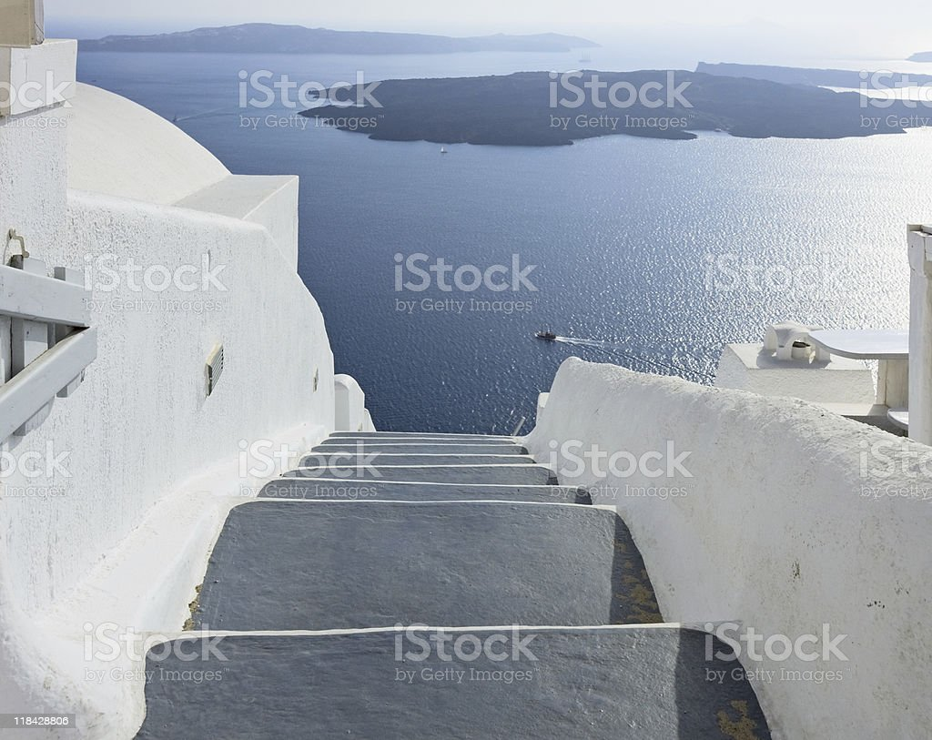 Staircase to the nowhere, Santorini royalty-free stock photo