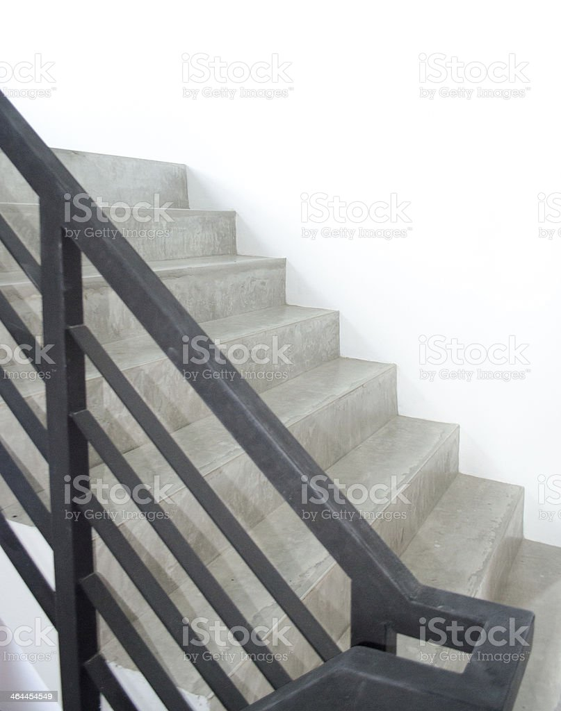 staircase with metallic handrails in modern interior royalty-free stock photo