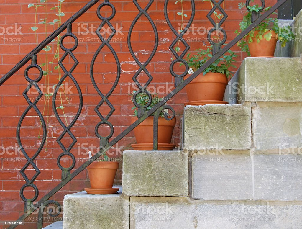 Staircase with potted plants stock photo