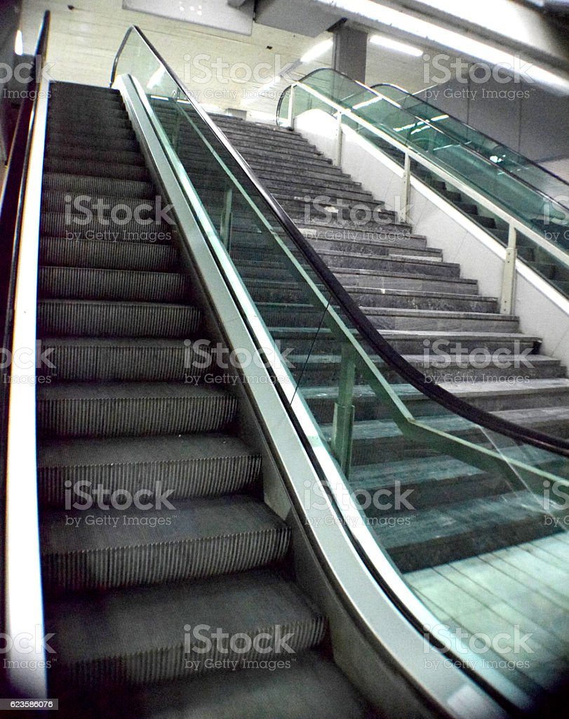 Staircases - movable and immovable ones stock photo