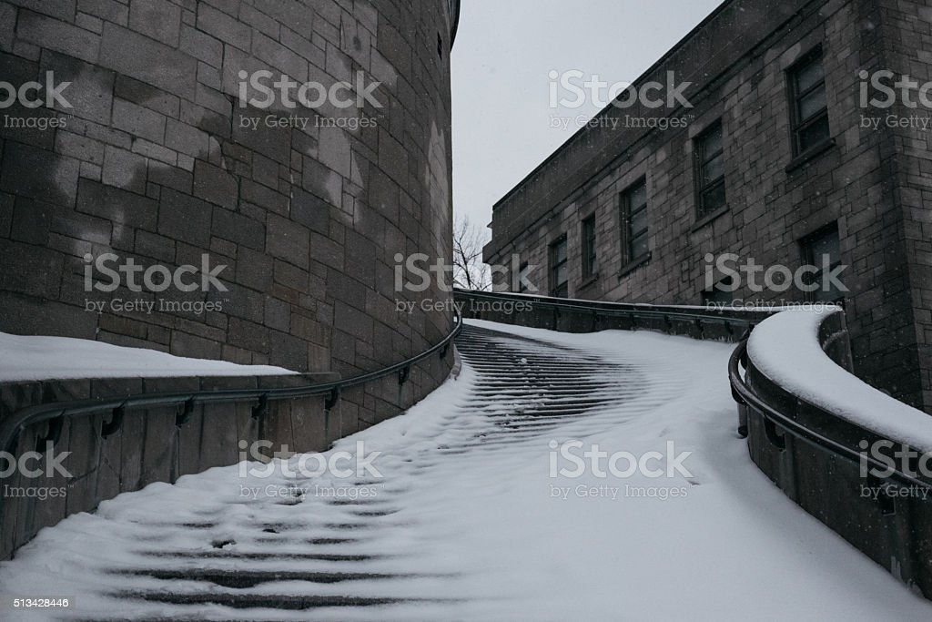 Staircases of Saint-Joseph's Oratory covered snow stock photo