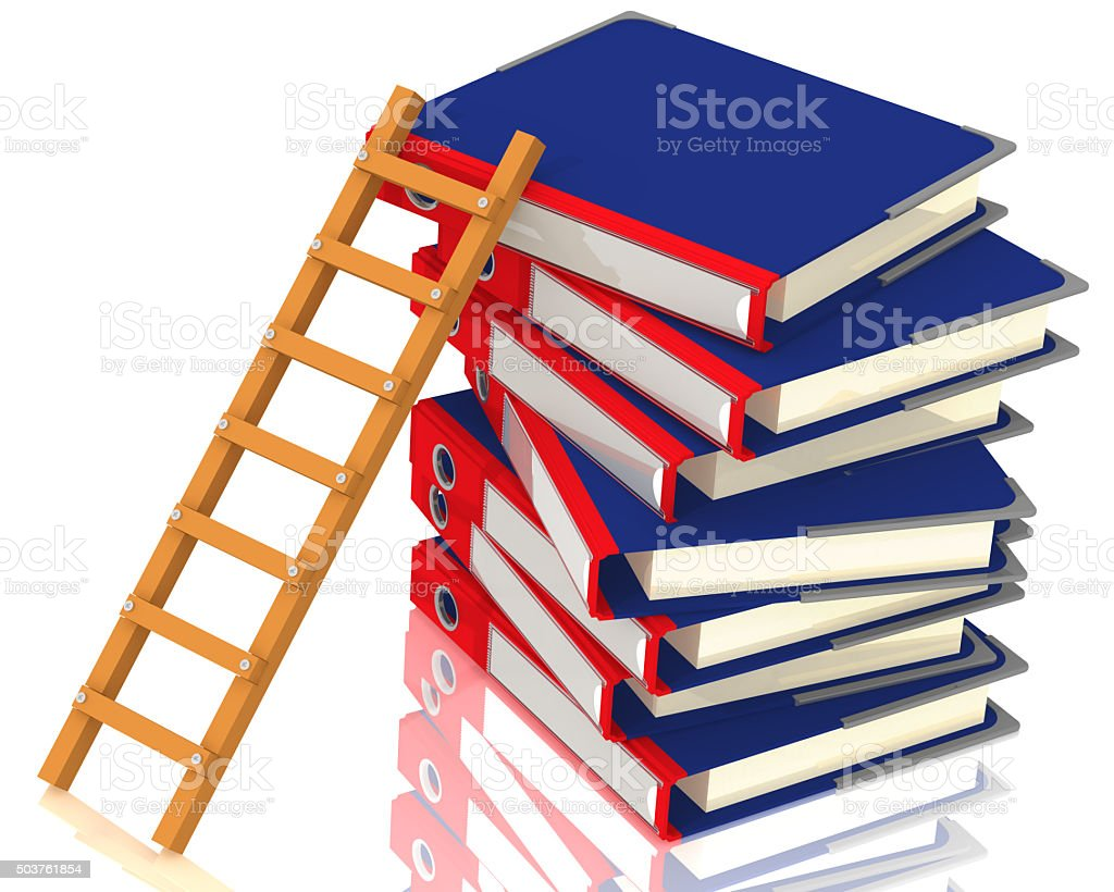 Stairs and a stack of office folders stock photo