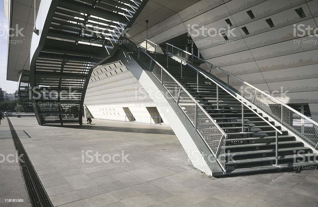 Stairs and building, low angle view, Paris, France royalty-free stock photo