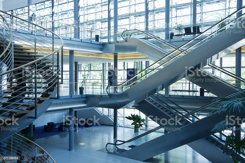 Stairs and Escalators in Modern Office Building stock photo