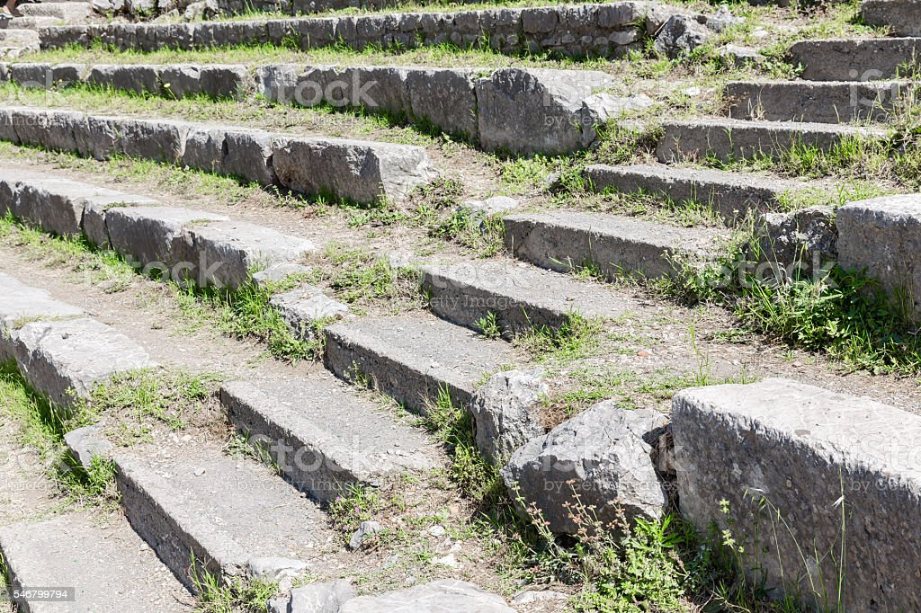 Stairs and seats of historic Greek theatre Taormina, Sicily stock photo