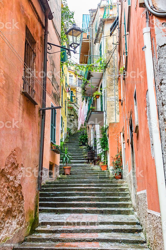 Stairs and street of Monterosso, Cinque Terre, Italy stock photo