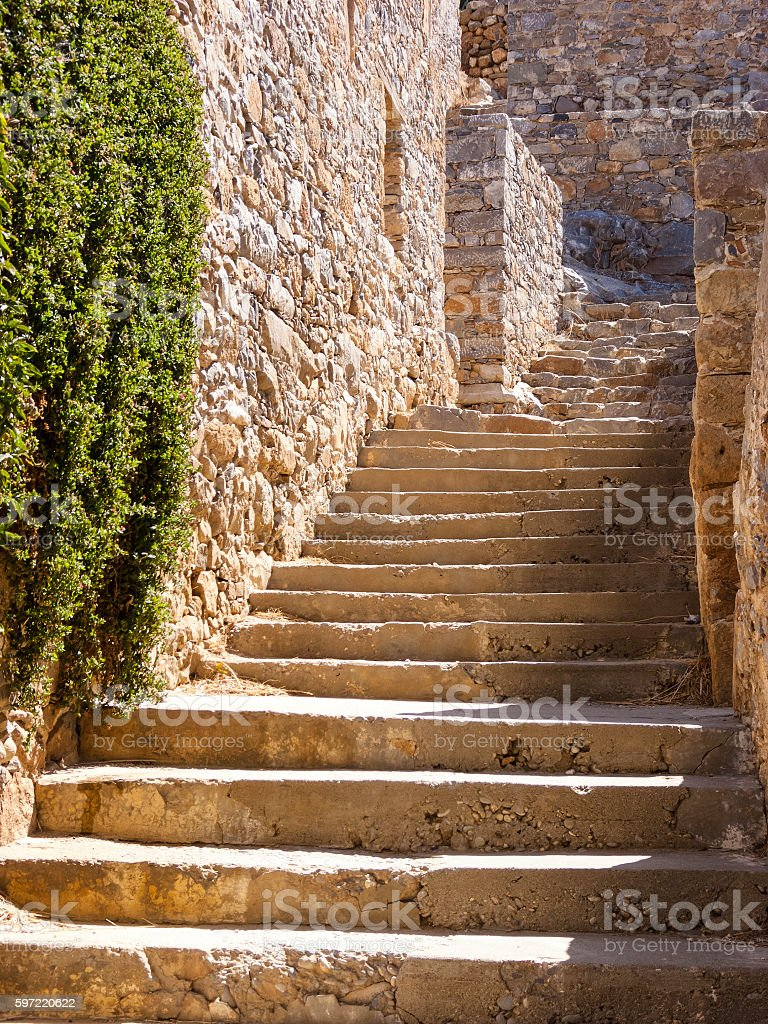Stairs and walls in the Spinalonga island of Crete, Greece stock photo