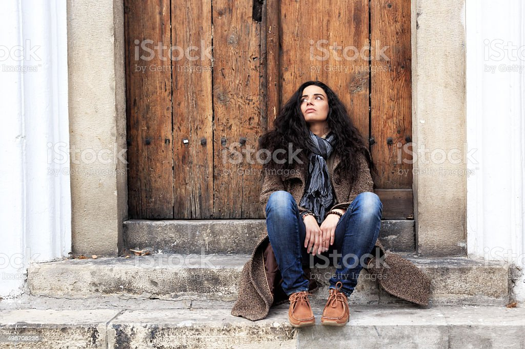 Stairs are my friend in the loneliness stock photo