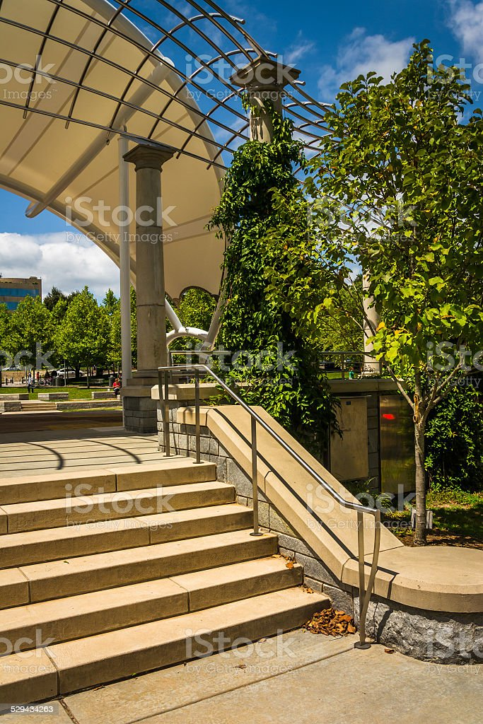 Stairs at Pack Square Park in Asheville, North Carolina. stock photo