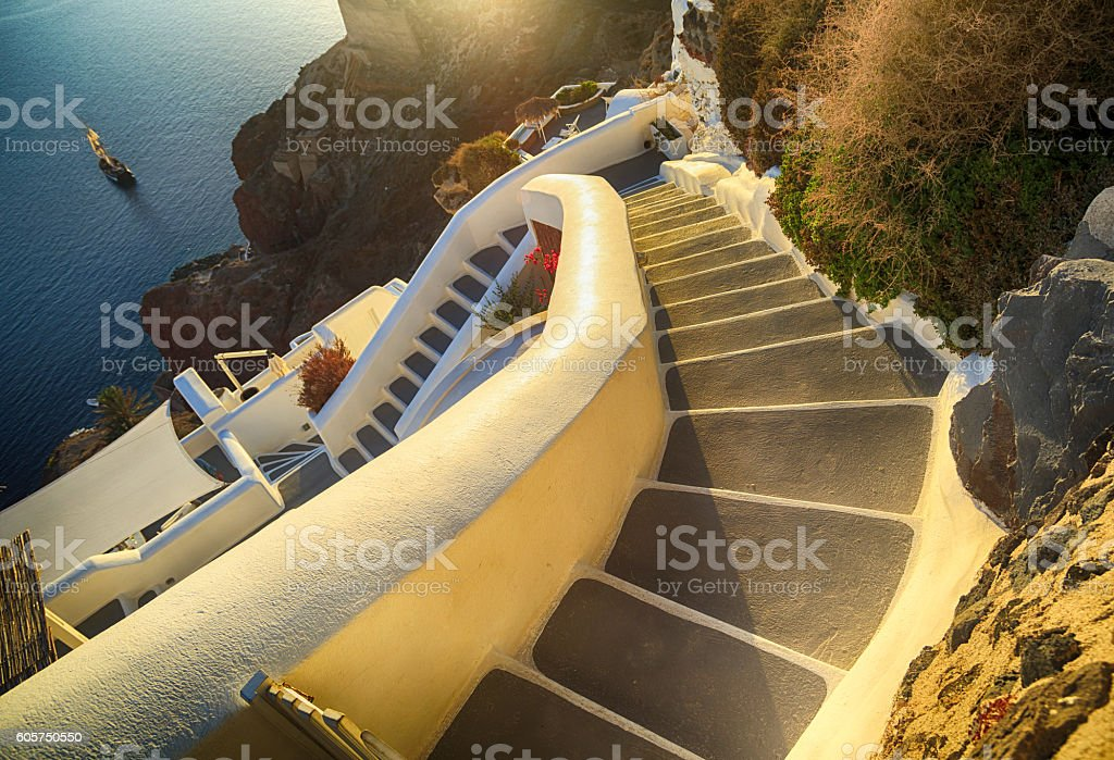 Stairs at sunset in Santorini, Greece stock photo