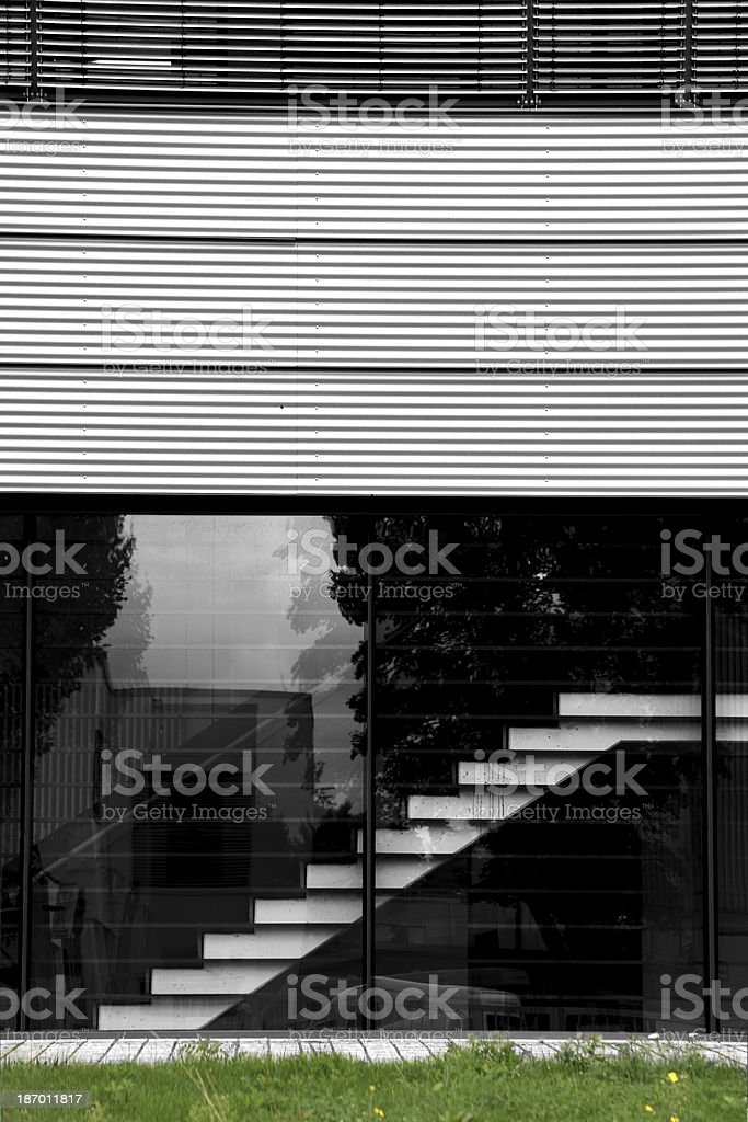 Stairs behind glass royalty-free stock photo