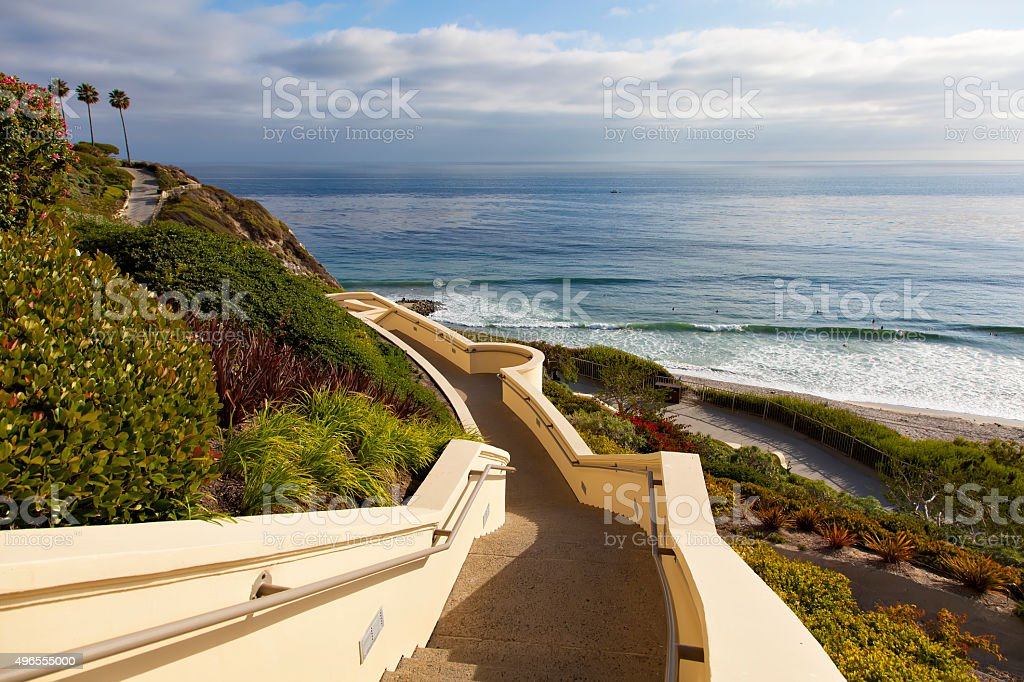 Stairs down to the ocean in Dana Point stock photo