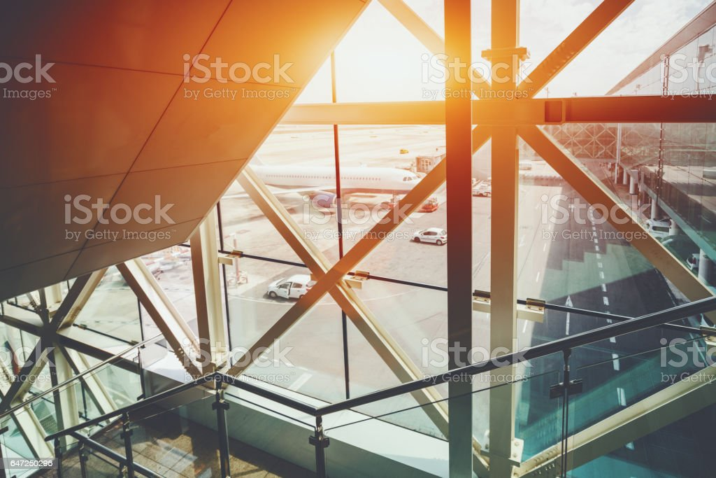 Stairs for passengers to take-off field in airport stock photo