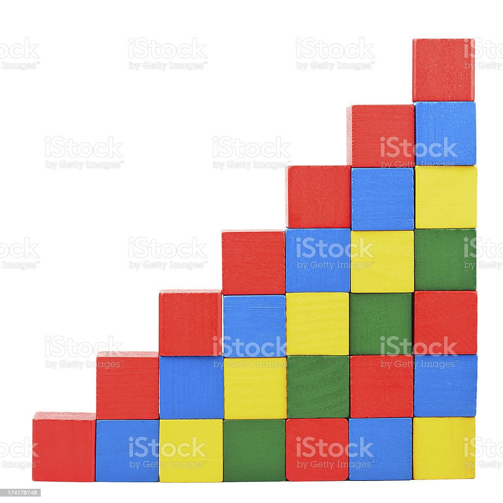 Stairs from wooden blocks royalty-free stock photo