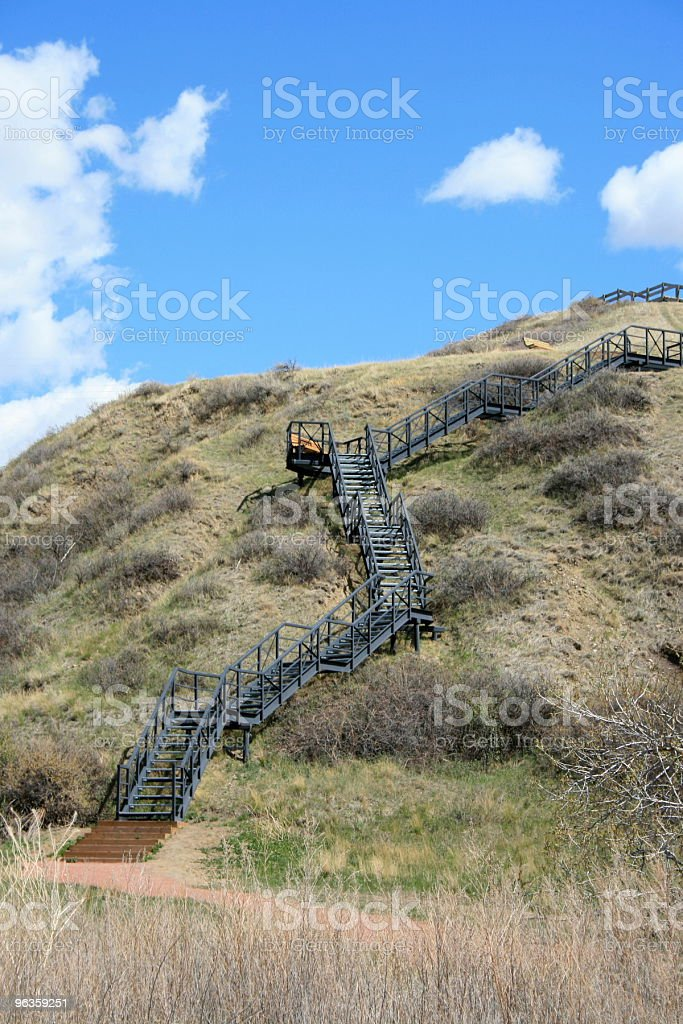 stairs going up the side of coulee royalty-free stock photo