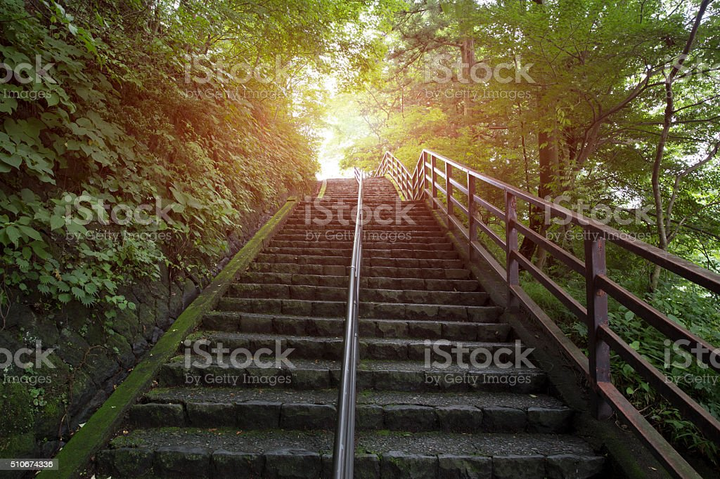 stairs going up to the light stock photo