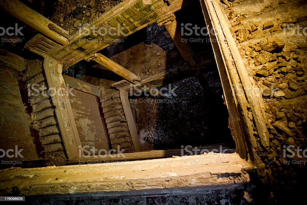 Stairs in abandoned building royalty-free stock photo