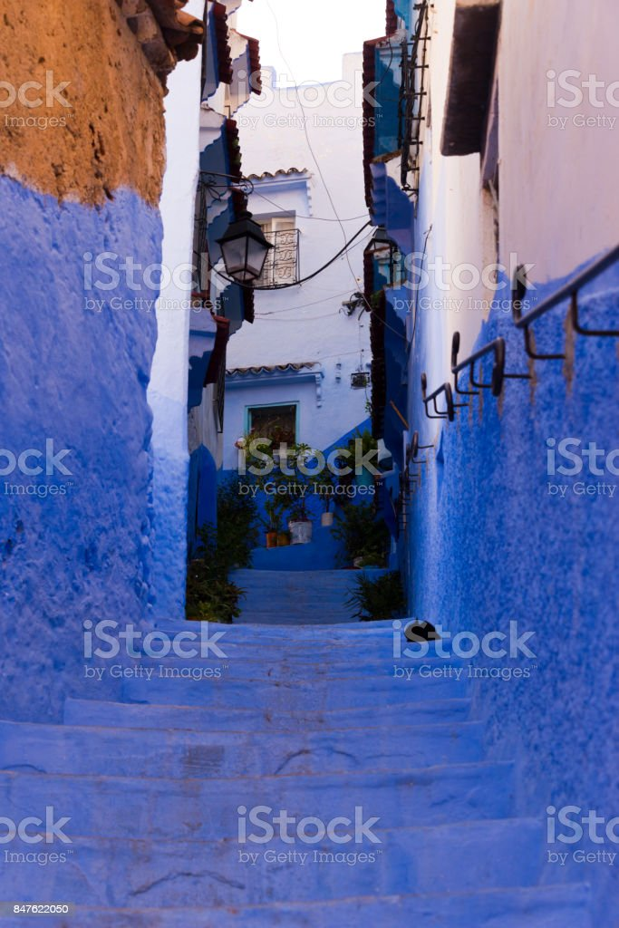 stairs in chefchaouen stock photo