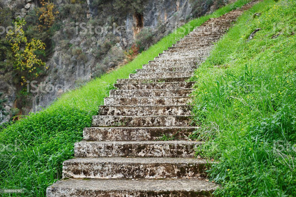 stairs in mountains stock photo