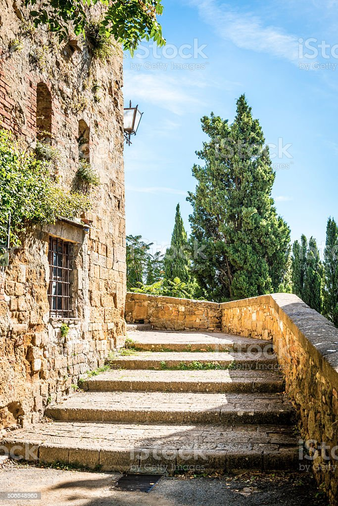 Stairs in Pienza stock photo