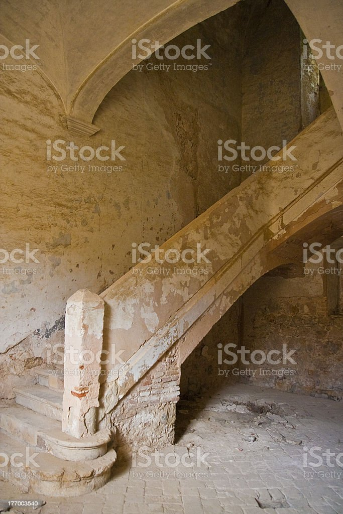 Stairs in ruins stock photo