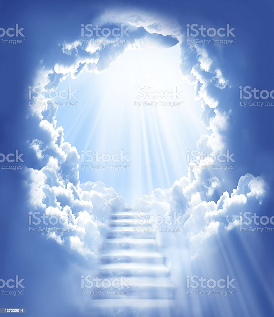 stairs in sky stock photo
