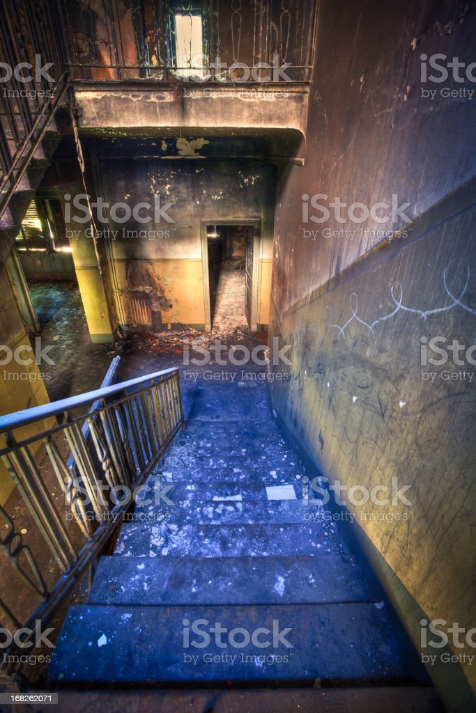 Stairs in Spooky Abandoned House, HDR royalty-free stock photo