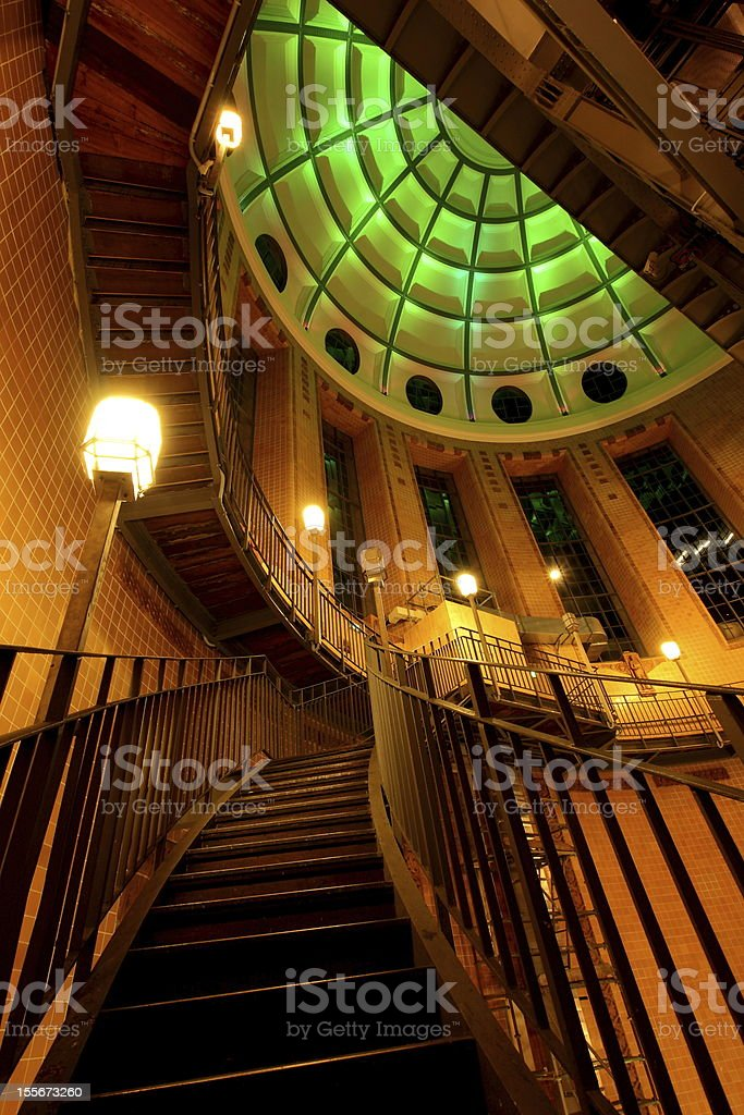 Stairs in the Old Elbtunnel Hamburg royalty-free stock photo