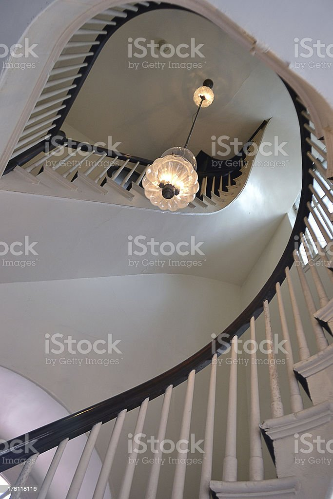 Stairs in the Old North Church, Boston MA stock photo