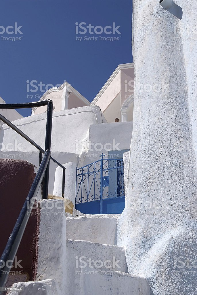 Stairs in the village of Ia on Santorini island Greece royalty-free stock photo