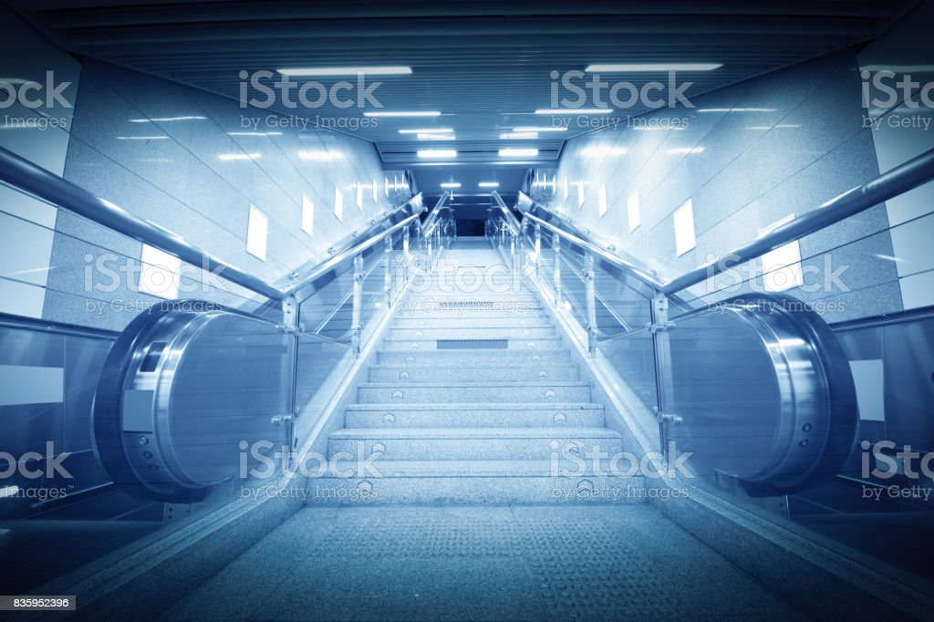 Stairs in train station stock photo