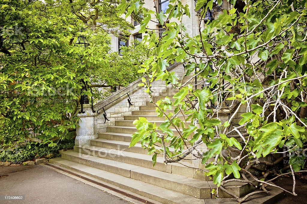 stairs lead up to college building in Oxford, UK royalty-free stock photo
