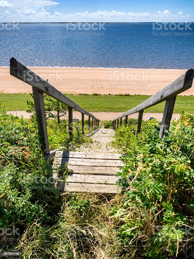 Stairs leading down to the beach in Hjerting near Esbjerg stock photo