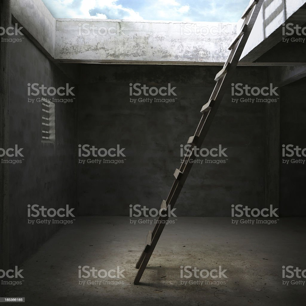 Stairs leading out of the room stock photo