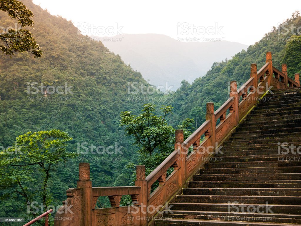 Stairs leading to summit of Mount Emei stock photo