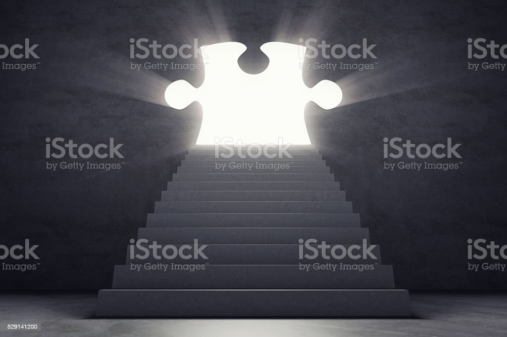 Stairs Leading To The Puzzle Door Open To The Light stock photo