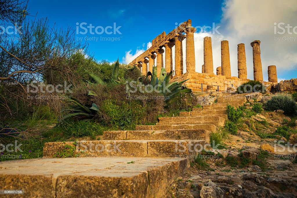 stairs leading to the Temple of Juno stock photo