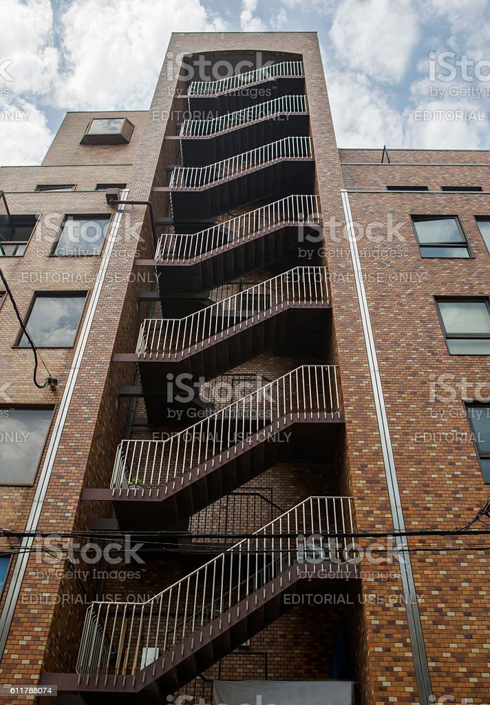 Stairs located at site of building  downtown of osaka japan stock photo