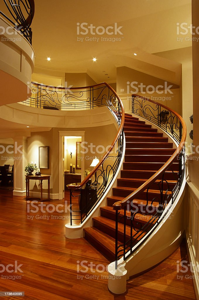 stairs mansion house railing hardwood floor royalty-free stock photo