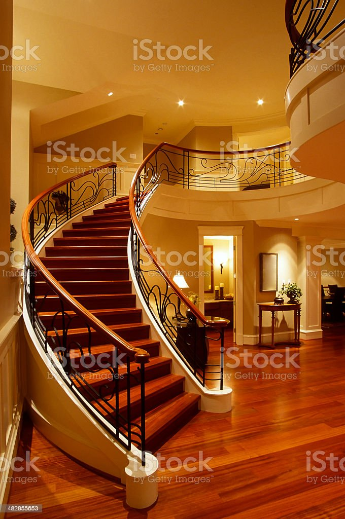 stairs mansion house railing hardwood floor stock photo