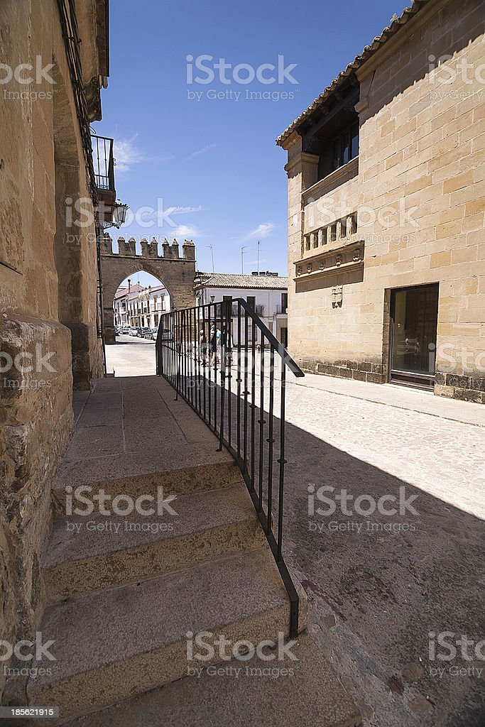 Stairs near the door of Jaen in Baeza royalty-free stock photo