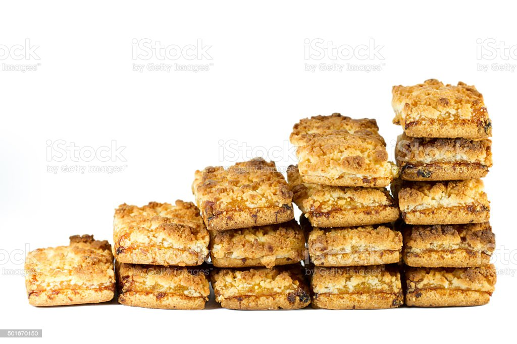Stairs of biscuits with jam stock photo