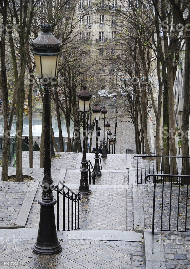 Stairs Of Rue De Mont Ceni stock photo