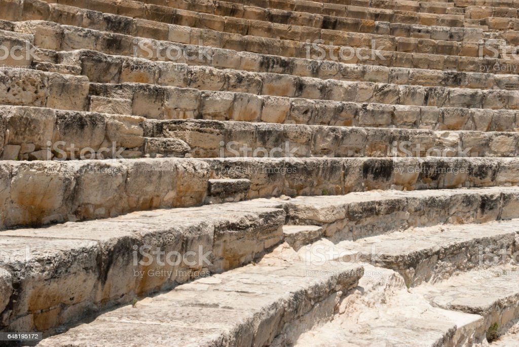 Stairs of the ancient ruins of Roman Kourion theatre stock photo