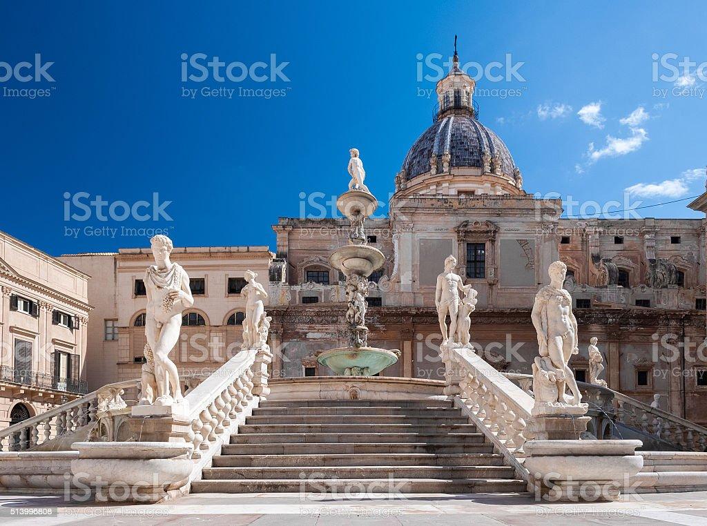 Stairs of the fountain in Piazza Pretoria, Palermo stock photo