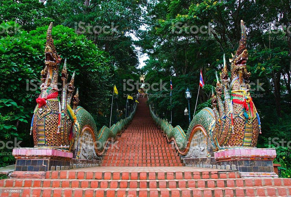 Stairs of Wat Doi Suthep Temple stock photo