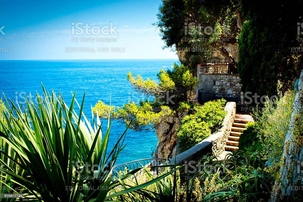 Stairs on Fortress wall Monaco stock photo